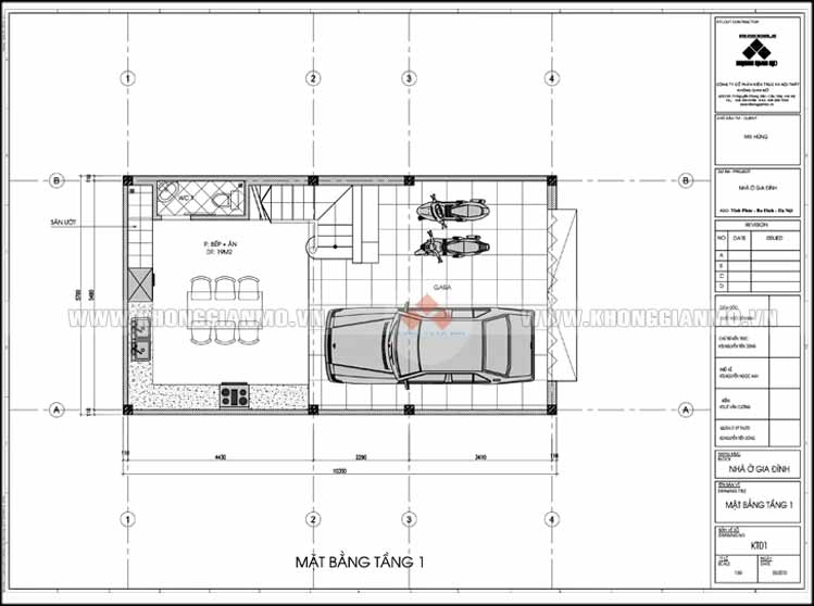 Thiết kế kiến trúc và xây dựng nhà 5 tầng 50 m2 - Mặt bằng tầng 1