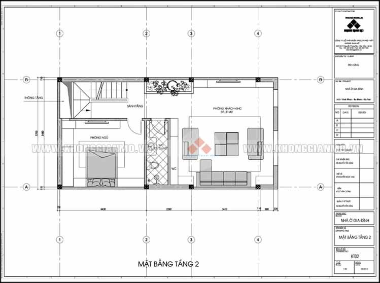 Thiết kế kiến trúc và xây dựng nhà 5 tầng 50 m2 - Mặt bằng tầng 2