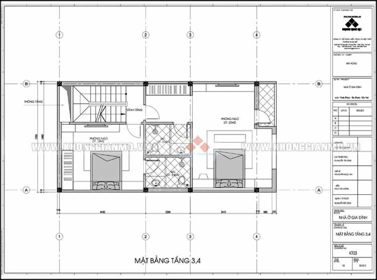 Thiết kế kiến trúc và xây dựng nhà 5 tầng 50 m2 - Mặt bằng tầng 3,4,