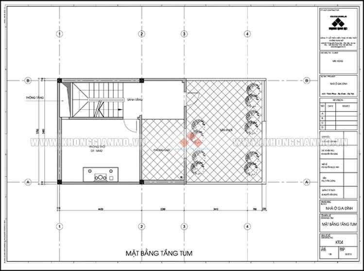 Thiết kế kiến trúc và xây dựng nhà 5 tầng 50 m2 - Mặt bằng tầng Tum
