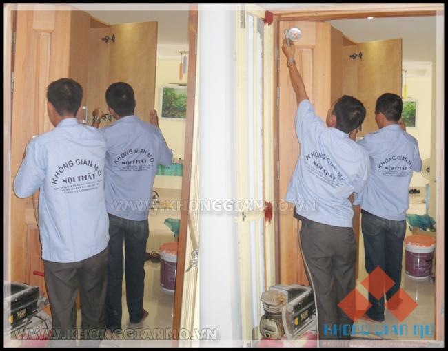 Đội thi công lắp đặt nội thất tại công trình - Đội thi công được Công ty KHÔNG GIAN MỞ tuyển chọn và đào tạo bài bản. Yêu cầu tính trung thực và kỷ luật cao.